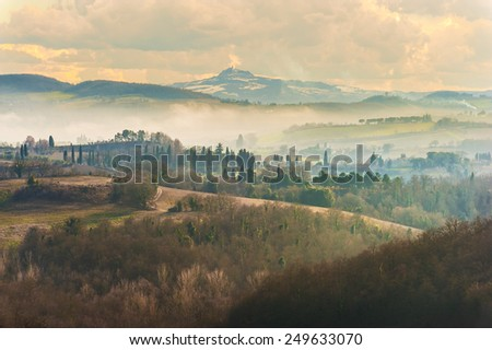 Mountain forests in view of the Tuscan landscape. - stock photo