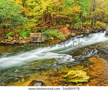 Mountain Fork River at Beaver's Bend State Park - stock photo