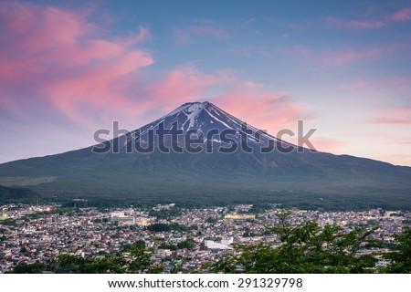 Mountain Fuji and Fujiyoshida City View with Beautiful Twilight - stock photo