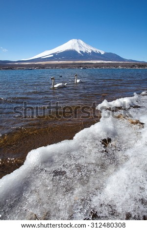 Mountain fuji and Ice lake in winter at Yamanakako lake ,Yamanashi