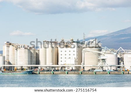 Mountain Fuji and Japan industry Factory from Shizuoka prefecture - stock photo