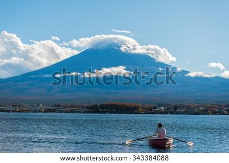 Mountain Fuji and lake kawaguchi - stock photo