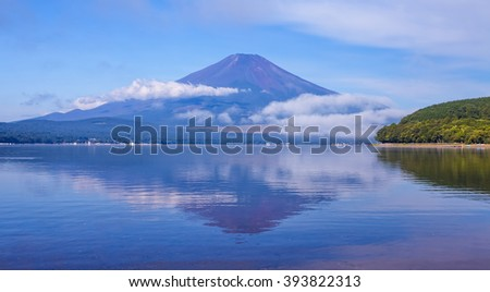 Mountain Fuji and lake yamanakako in summer season