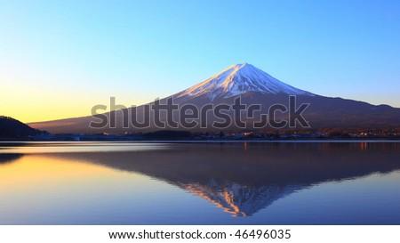 Mountain Fuji and reflection at dawn - stock photo