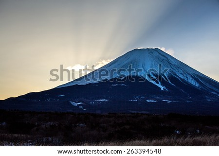 Mountain Fuji Diamond sunrise in winter - stock photo