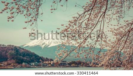 Mountain Fuji in spring ,Cherry blossom Sakura,vintage - stock photo