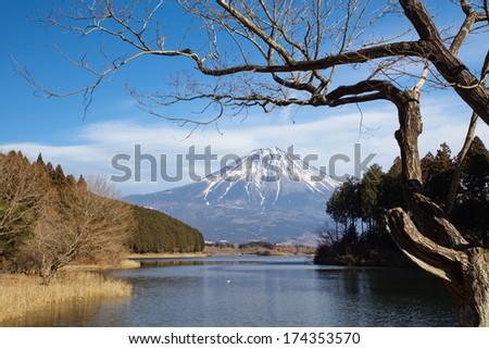 Mountain Fuji in winter season from Lake Tanuki , Shizuoka prefecture , Japan - stock photo