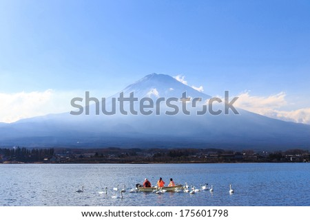 Mountain Fuji in winter season from the lake, Japan.