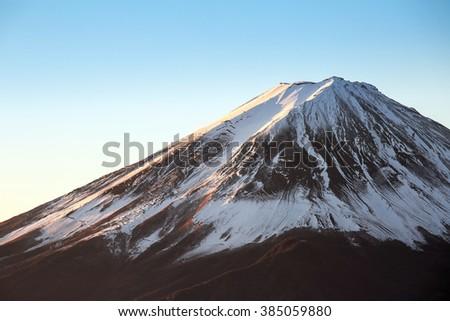 Mountain Fuji in winter sunrise - stock photo