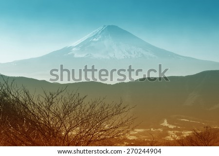 Mountain Fuji view from Owakudani. - stock photo