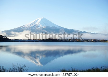 Mountain Fuji view from the lake,The symbol of Japan. - stock photo