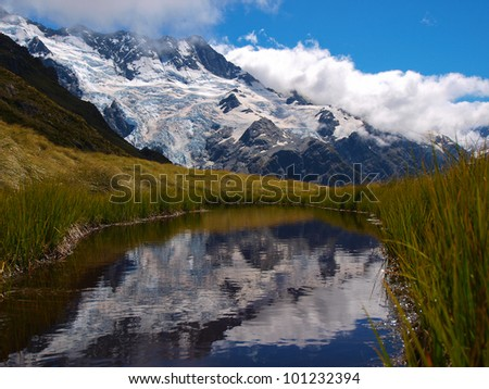 Mountain Glacier and little pond in Southern Alps, New Zealand