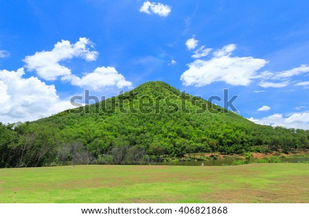 mountain green sky nature valley forest peak travel outdoor grass cloud