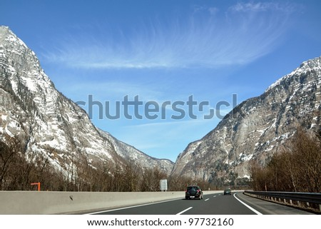 Mountain highway in the beautiful austrian Alps - stock photo