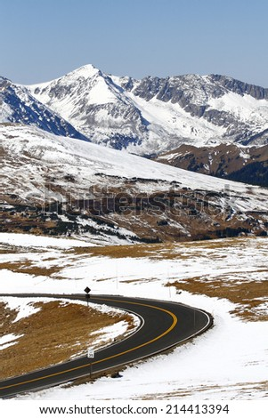 Mountain Highway Through the Rocky Mountains - stock photo