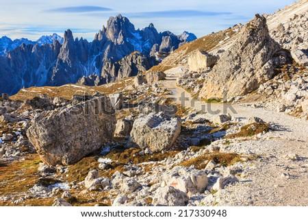 Mountain hiking path in the mountain - stock photo