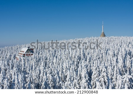 Mountain hotel and television transmitter Jested, Czech republic - stock photo