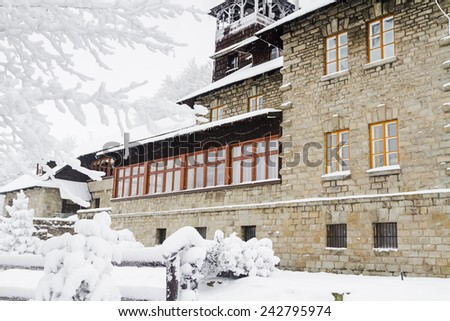 Mountain hotel standing in Beskidy mountains. Szyndzielnia, Beskid Slaski, Poland