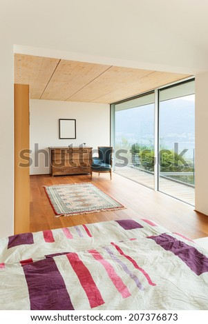 mountain house, modern architecture, interior, bedroom