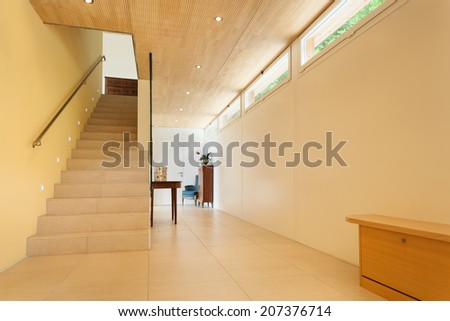 mountain house, modern architecture, interior, hall