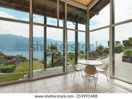 mountain house; modern architecture; interior; veranda - stock photo
