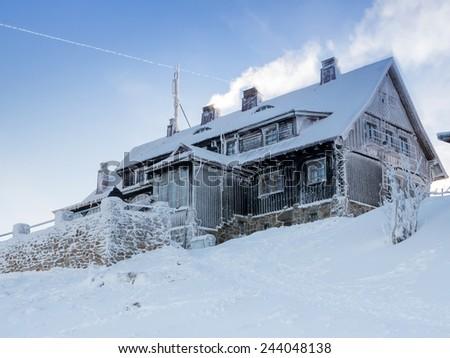 Mountain hut - stock photo