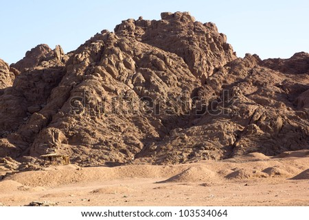 mountain in a desert - stock photo