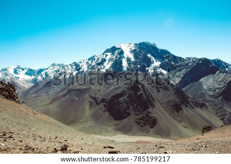 mountain in argentina with the snow peak and blue sky