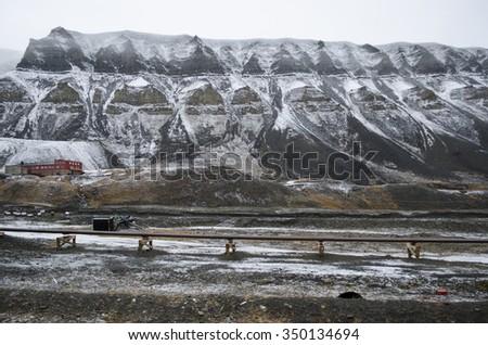 Mountain in Longyearbyen, Svalbard - stock photo