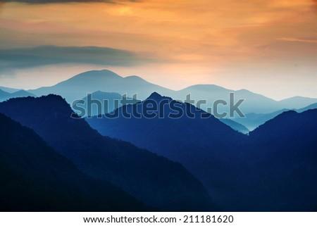 mountain in sunrise - stock photo
