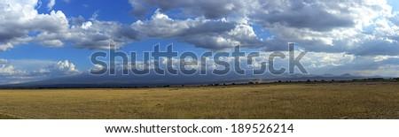 Mountain Kelimandzharo in African savannah in Amboseli National Park. Kenya. Africa - stock photo