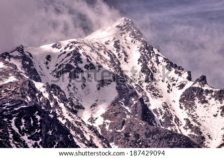 Mountain Krivan with clouds in Hight Tatry  - stock photo