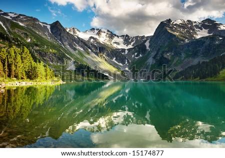 Mountain lake - stock photo