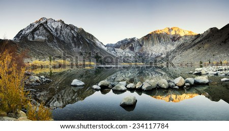 Mountain Lake at Autumn - Convict Lake in California's Sierra Nevada Mountain Range at Autumn - stock photo
