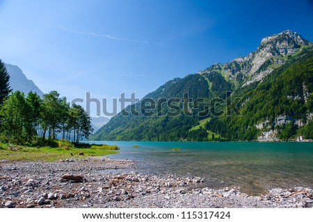 Mountain lake at Kloental, Glarus, Switzerland - stock photo