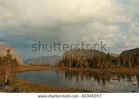 Mountain lake at Logan Pass - stock photo