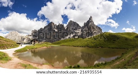 mountain lake at the foot of the Pale di San Martino, Trentino - Italy - stock photo