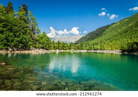 Mountain Lake. Caucasian National Park. Russia - stock photo