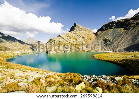Mountain lake, Caucasus - stock photo