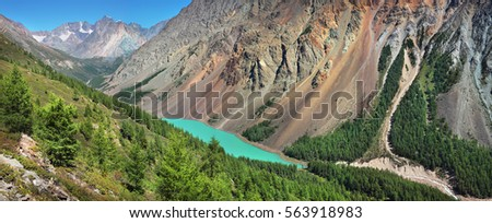 Mountain lake from above, Altai