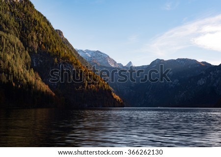 Mountain lake in Bavaria, Germany, in Autumn