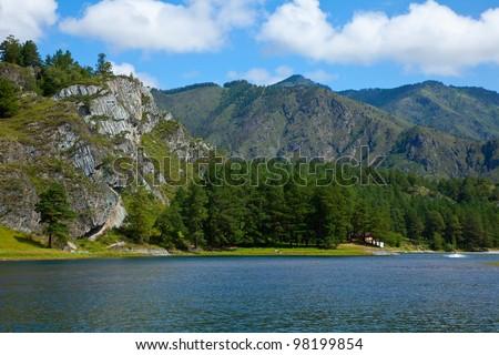 Mountain lake in Chemal, Altai, Siberia - stock photo