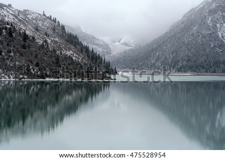 Mountain lake in early spring, Tibet