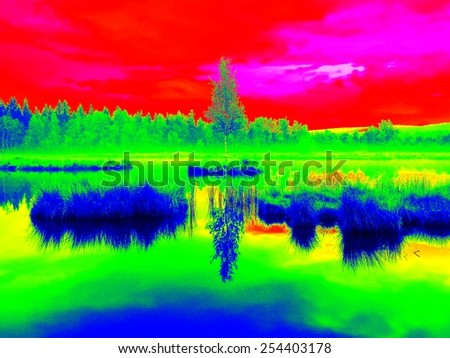 Mountain lake in middle of swamp with small island. Sky in mirror of water level, strange colors of thermography photo. Boulders and water level in shadows of trees. - stock photo