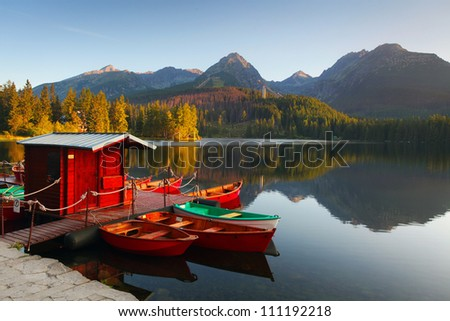 Mountain Lake in Slovakia Tatra - Strbske Pleso with dramatic clouds - stock photo