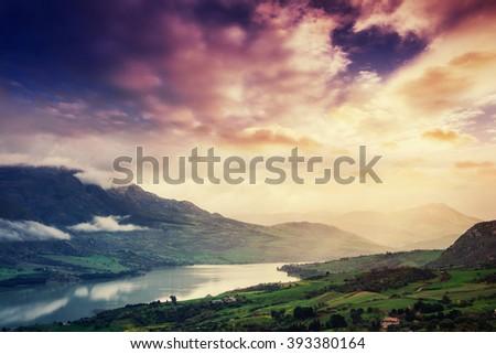 Mountain Lake in the Alpine mountains. Italy - stock photo