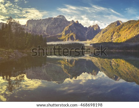 mountain lake in the Italian Alps,retro colors, vintage