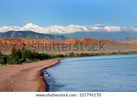 Mountain lake. Issyk-Kul, Kyrgyzstan. - stock photo