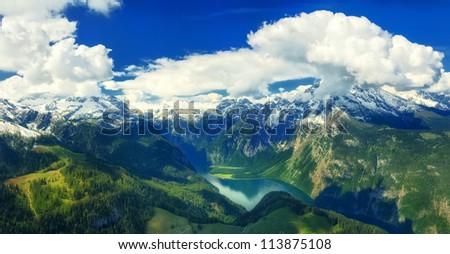 Mountain lake Konigsee high in german Alps - stock photo