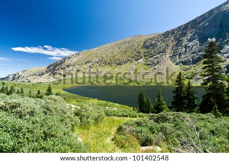 Mountain lake landscape in the Colorado Rockies - stock photo
